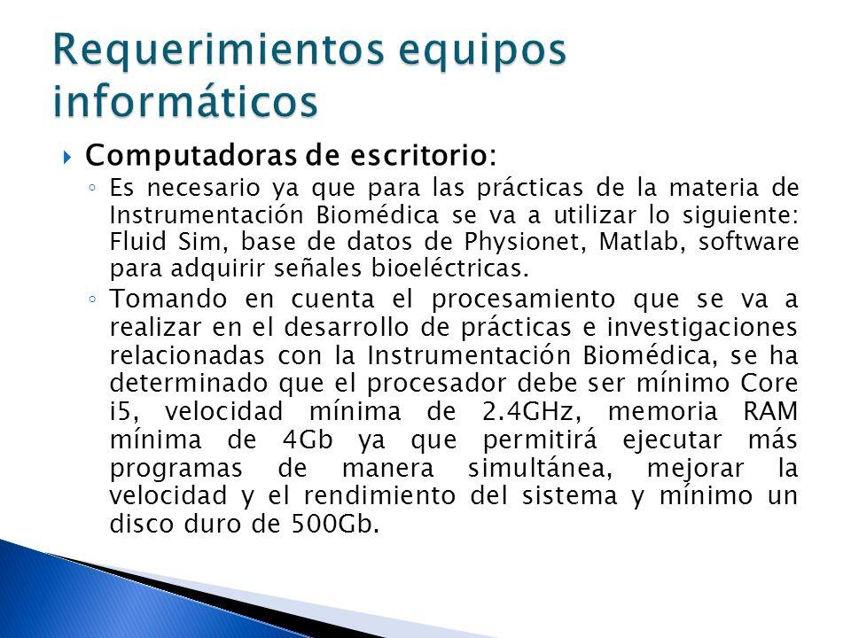 Computadoras de escritorio: Es necesario ya que para las prácticas de la materia de Instrumentación Biomédica se va a utilizar lo siguiente: Fluid Sim