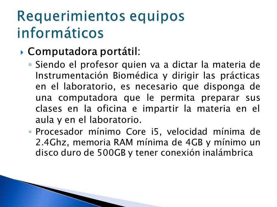 Computadora portátil: Siendo el profesor quien va a dictar la materia de Instrumentación Biomédica y dirigir las prácticas en el laboratorio, es neces
