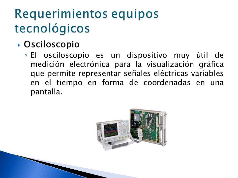 Osciloscopio El osciloscopio es un dispositivo muy útil de medición electrónica para la visualización gráfica que permite representar señales eléctric