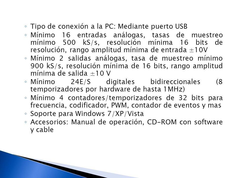 Tipo de conexión a la PC: Mediante puerto USB Mínimo 16 entradas análogas, tasas de muestreo mínimo 500 kS/s, resolución mínima 16 bits de resolución,