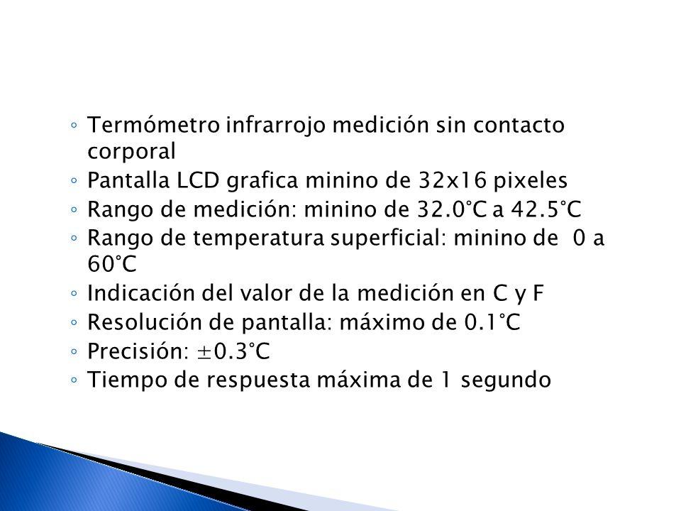 Termómetro infrarrojo medición sin contacto corporal Pantalla LCD grafica minino de 32x16 pixeles Rango de medición: minino de 32.0°C a 42.5°C Rango d