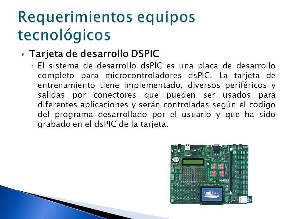 Tarjeta de desarrollo DSPIC El sistema de desarrollo dsPIC es una placa de desarrollo completo para microcontroladores dsPIC. La tarjeta de entrenamie