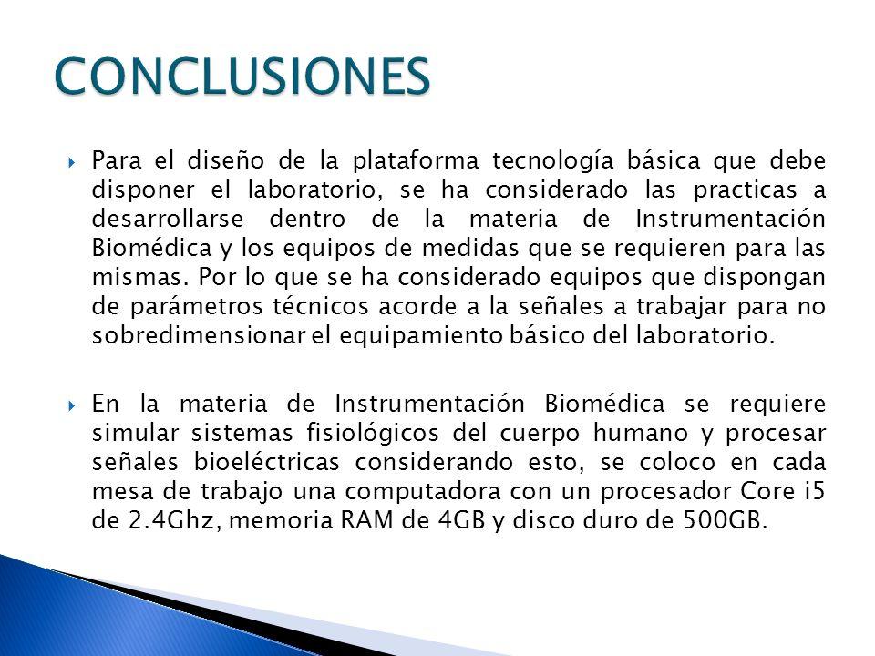 Para el diseño de la plataforma tecnología básica que debe disponer el laboratorio, se ha considerado las practicas a desarrollarse dentro de la mater