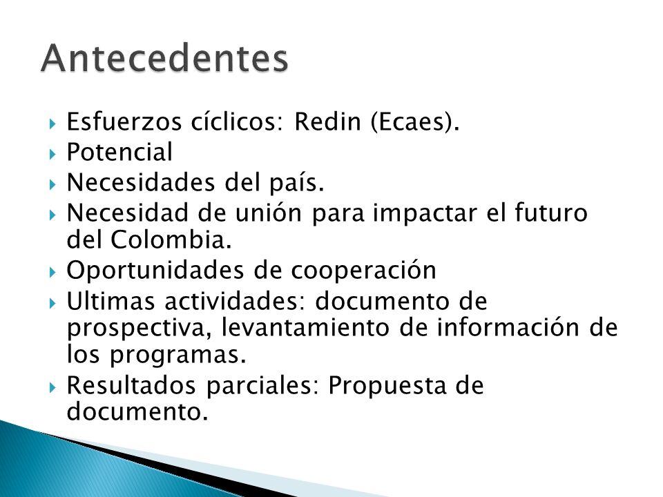 Esfuerzos cíclicos: Redin (Ecaes).Potencial Necesidades del país.