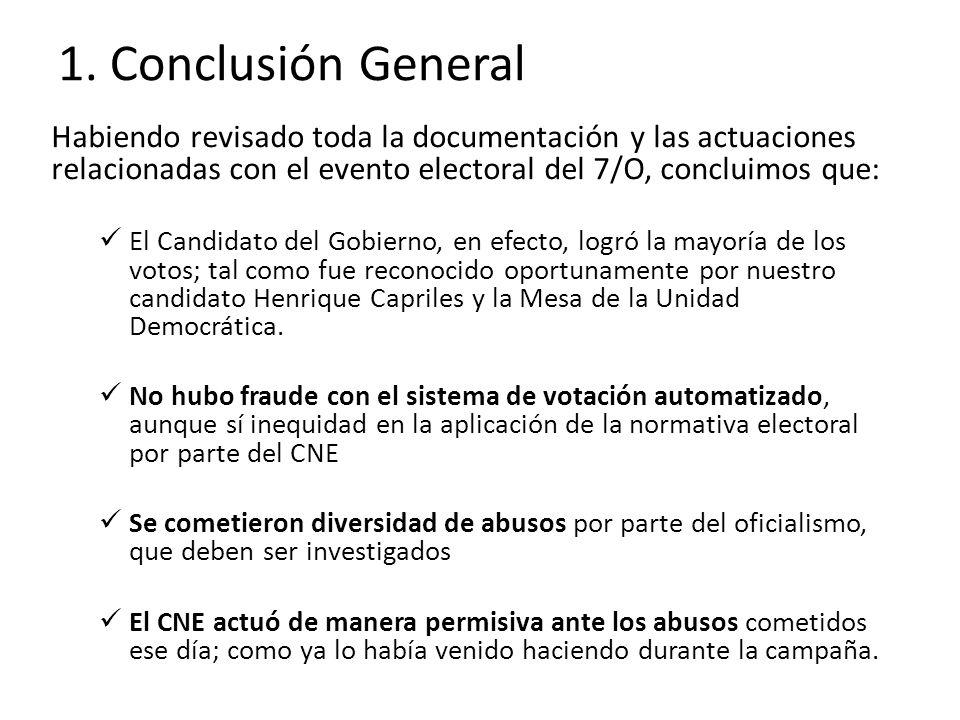 1. Conclusión General Habiendo revisado toda la documentación y las actuaciones relacionadas con el evento electoral del 7/O, concluimos que: El Candi