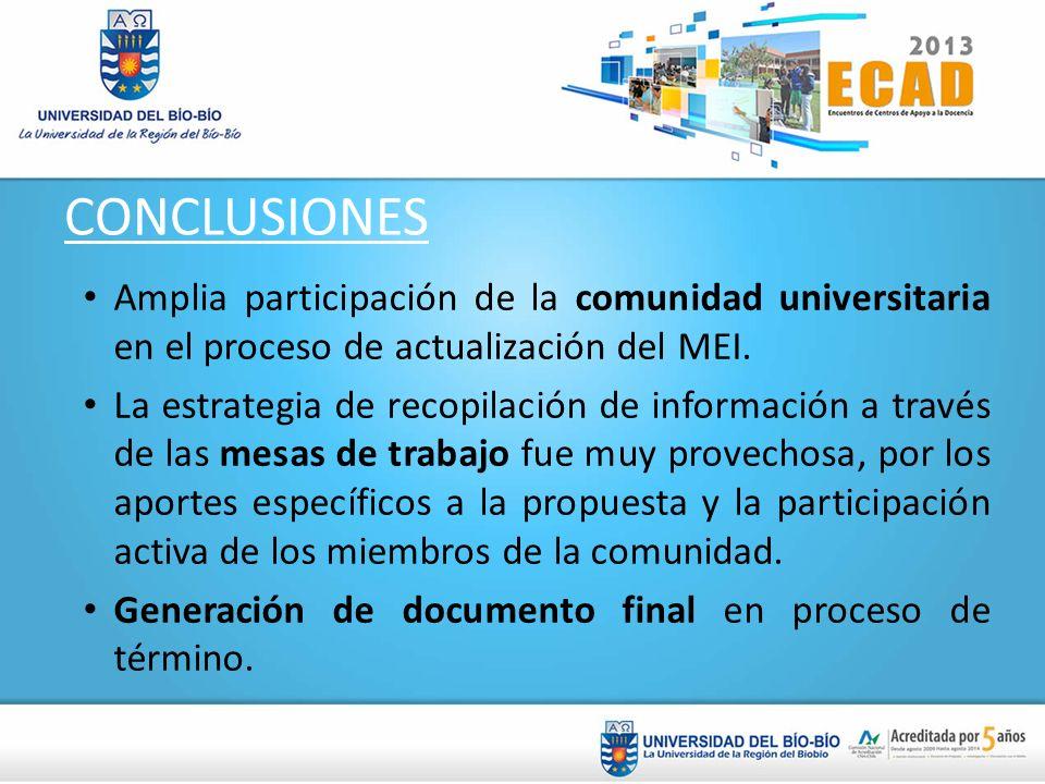 CONCLUSIONES Amplia participación de la comunidad universitaria en el proceso de actualización del MEI. La estrategia de recopilación de información a