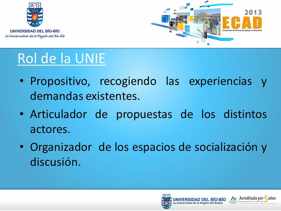 Rol de la UNIE Propositivo, recogiendo las experiencias y demandas existentes. Articulador de propuestas de los distintos actores. Organizador de los