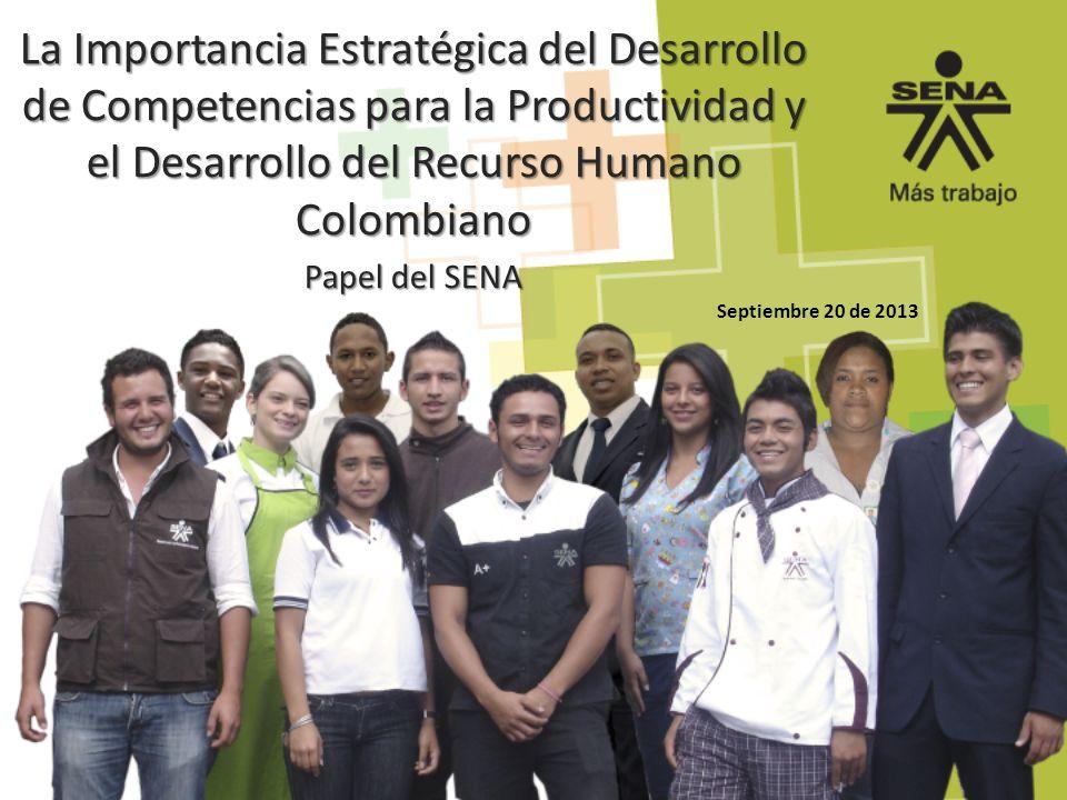 Septiembre 20 de 2013 La Importancia Estratégica del Desarrollo de Competencias para la Productividad y el Desarrollo del Recurso Humano Colombiano Pa