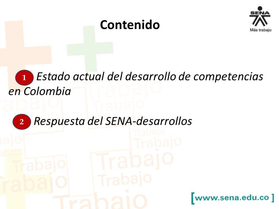 Contenido Estado actual del desarrollo de competencias en Colombia Respuesta del SENA-desarrollos 1 2