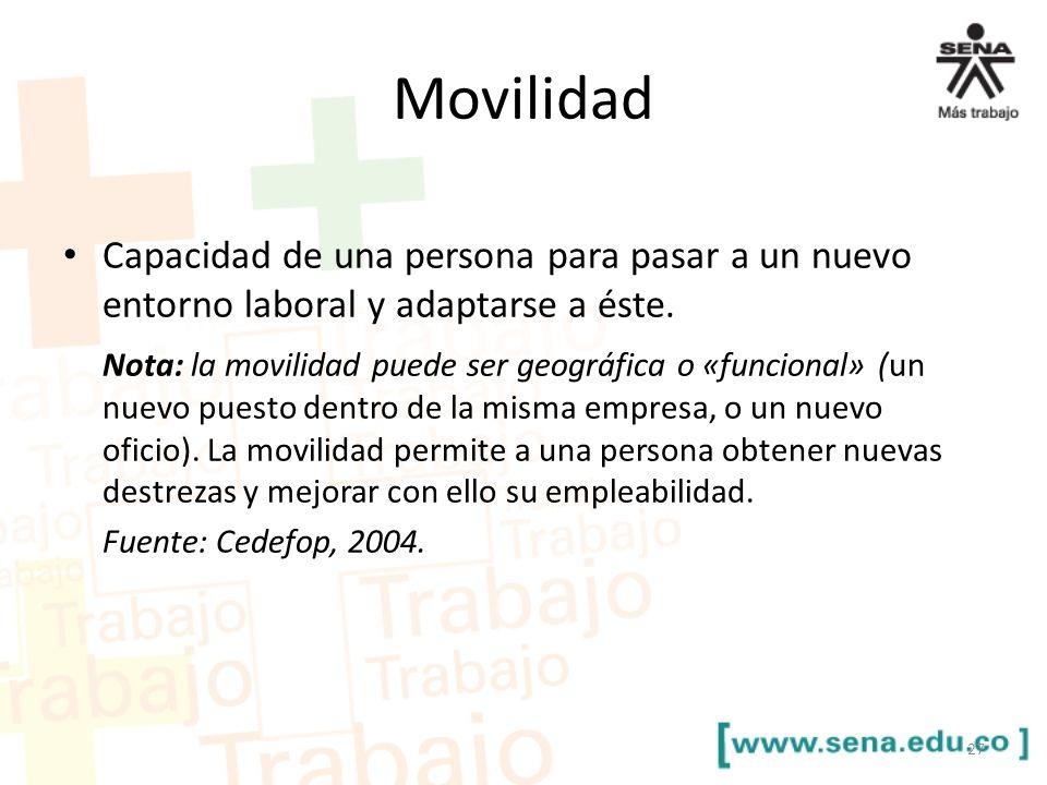 Movilidad Capacidad de una persona para pasar a un nuevo entorno laboral y adaptarse a éste. Nota: la movilidad puede ser geográfica o «funcional» (un