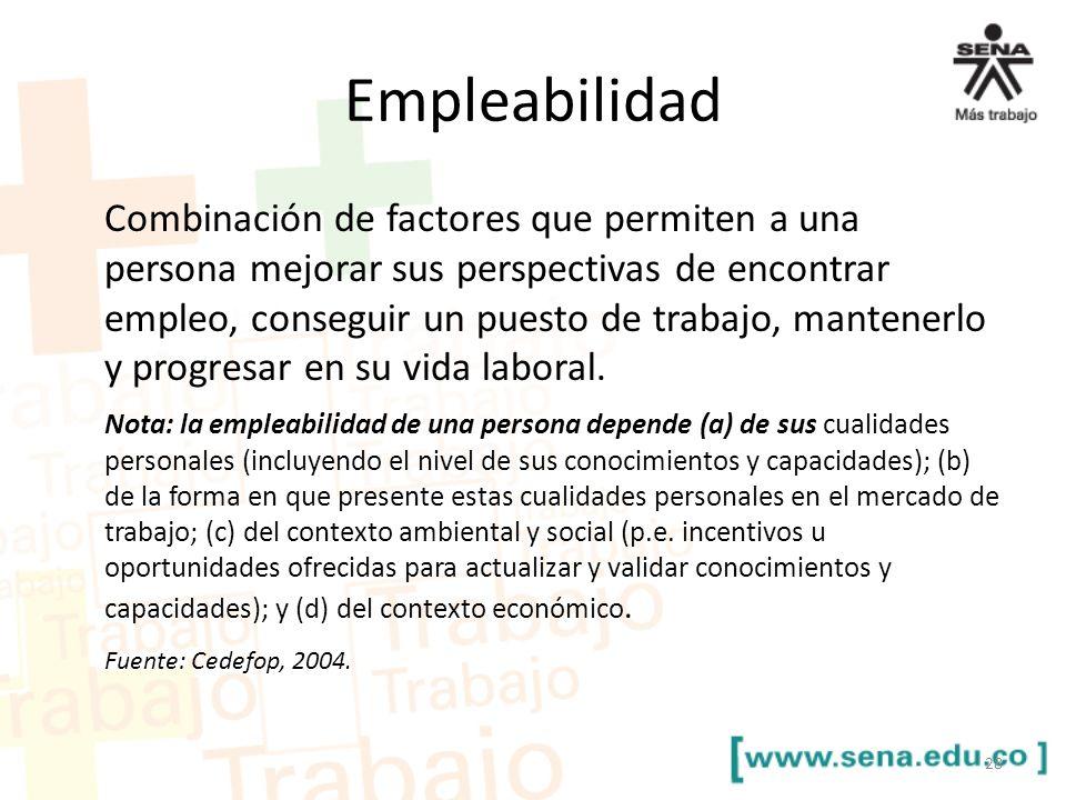 Empleabilidad Combinación de factores que permiten a una persona mejorar sus perspectivas de encontrar empleo, conseguir un puesto de trabajo, mantene