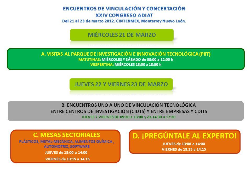A. VISITAS AL PARQUE DE INVESTIGACIÓN E INNOVACIÓN TECNOLÓGICA (PIIT) MATUTINAS: MIÉRCOLES Y SÁBADO de 08:00 a 12:00 h VESPERTINA: MIÉRCOLES 13:00 a 1