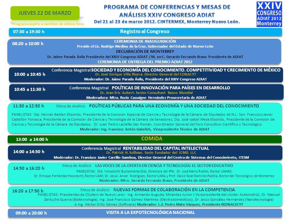 07:30 a 19:30 h Registro al Congreso 08:20 a 10:00 h CEREMONIA DE INAUGURACIÓN Preside el Lic.