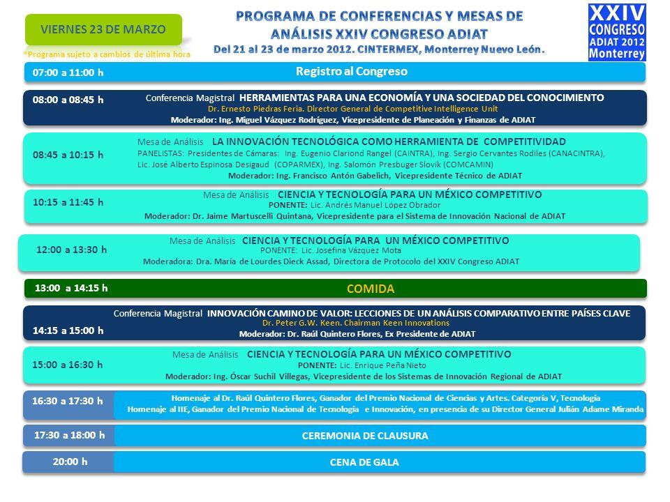 07:00 a 11:00 h Registro al Congreso 08:00 a 08:45 h Conferencia Magistral HERRAMIENTAS PARA UNA ECONOMÍA Y UNA SOCIEDAD DEL CONOCIMIENTO Dr.