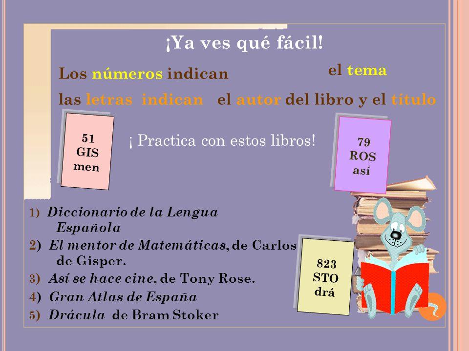 ¡Ya ves qué fácil! Los números indican el tema las letras indican el autor del libro y el título ¡ Practica con estos libros! 1) Diccionario de la Len