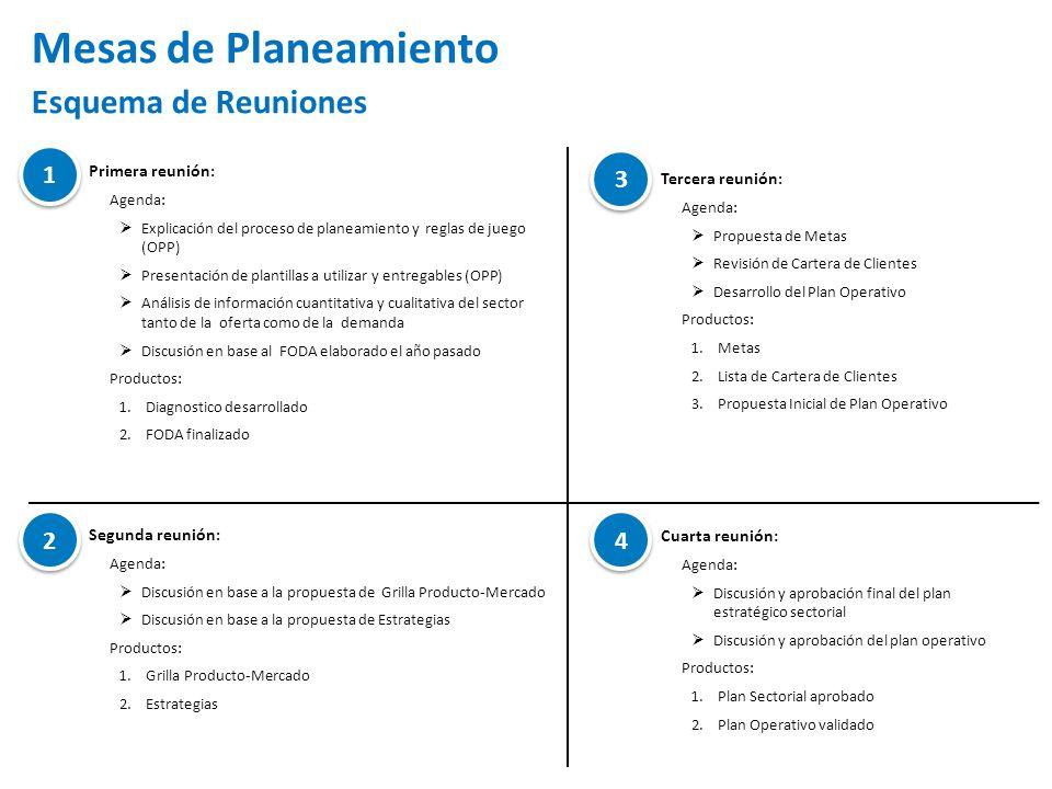 Primera reunión : Agenda: Explicación del proceso de planeamiento y reglas de juego (OPP) Presentación de plantillas a utilizar y entregables (OPP) Análisis de información cuantitativa y cualitativa del sector tanto de la oferta como de la demanda Discusión en base al FODA elaborado el año pasado Productos: 1.Diagnostico desarrollado 2.FODA finalizado Mesas de Planeamiento Esquema de Reuniones Segunda reunión : Agenda: Discusión en base a la propuesta de Grilla Producto-Mercado Discusión en base a la propuesta de Estrategias Productos: 1.Grilla Producto-Mercado 2.Estrategias 1 1 2 2 Tercera reunión : Agenda: Propuesta de Metas Revisión de Cartera de Clientes Desarrollo del Plan Operativo Productos: 1.Metas 2.Lista de Cartera de Clientes 3.Propuesta Inicial de Plan Operativo Cuarta reunión: Agenda: Discusión y aprobación final del plan estratégico sectorial Discusión y aprobación del plan operativo Productos: 1.Plan Sectorial aprobado 2.Plan Operativo validado 3 3 4 4