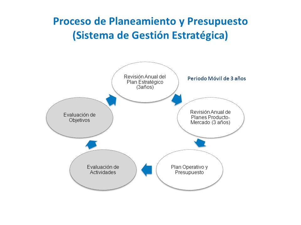 Proceso de Planeamiento y Presupuesto (Sistema de Gestión Estratégica) Revisión Anual del Plan Estratégico (3años) Revisión Anual de Planes Producto- Mercado (3 años) Plan Operativo y Presupuesto Evaluación de Actividades Evaluación de Objetivos Periodo Móvil de 3 años