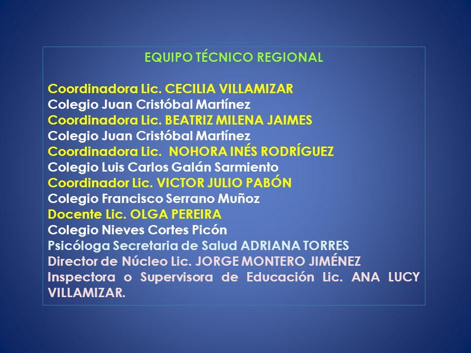 EQUIPO TÉCNICO REGIONAL Coordinadora Lic.