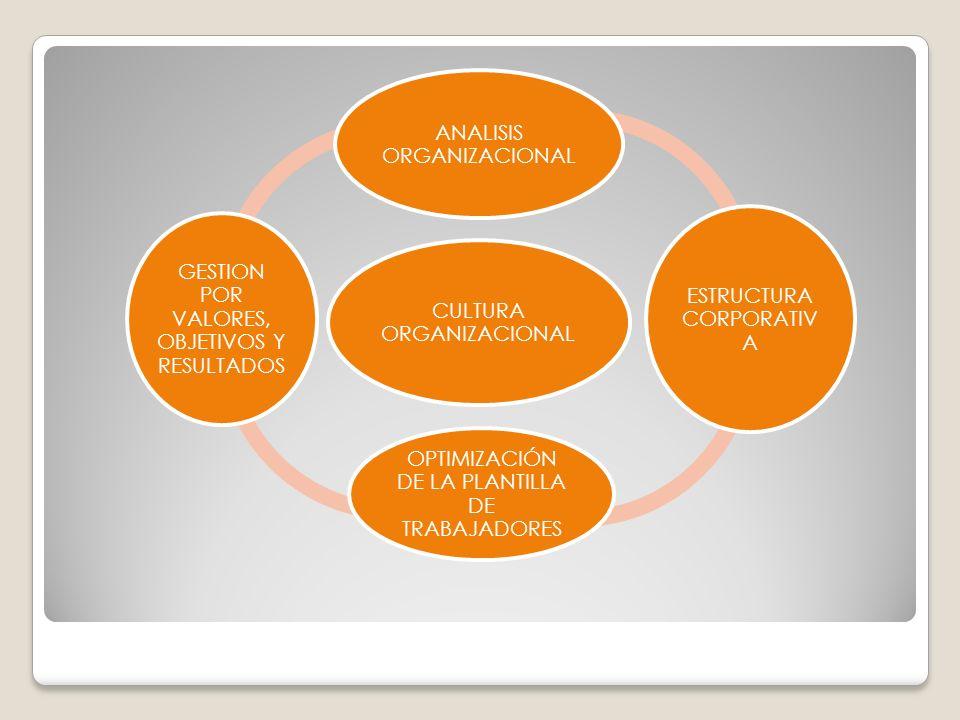 CULTURA ORGANIZACIONAL ANALISIS ORGANIZACIONAL ESTRUCTURA CORPORATIV A OPTIMIZACIÓN DE LA PLANTILLA DE TRABAJADORES GESTION POR VALORES, OBJETIVOS Y R