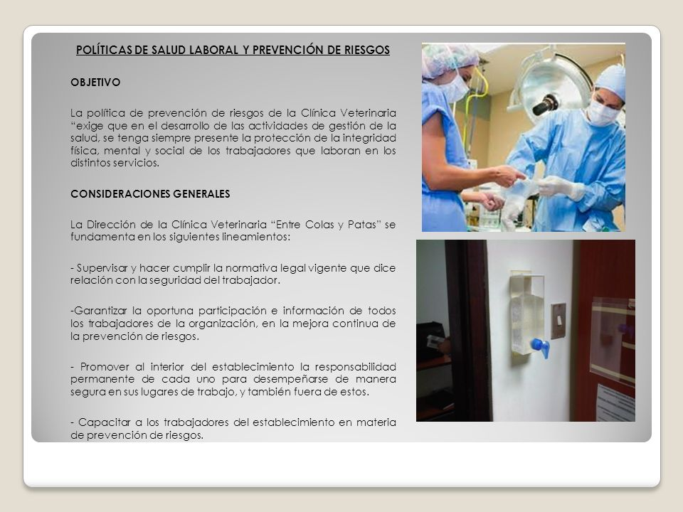 POLÍTICAS DE SALUD LABORAL Y PREVENCIÓN DE RIESGOS OBJETIVO La política de prevención de riesgos de la Clínica Veterinaria exige que en el desarrollo