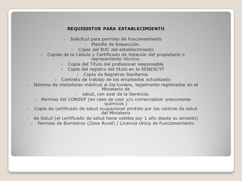 REQUISISTOS PARA ESTABLECIMIENTO Solicitud para permiso de funcionamiento Planilla de Inspección. Copia del RUC del establecimiento Copias de la Cédul