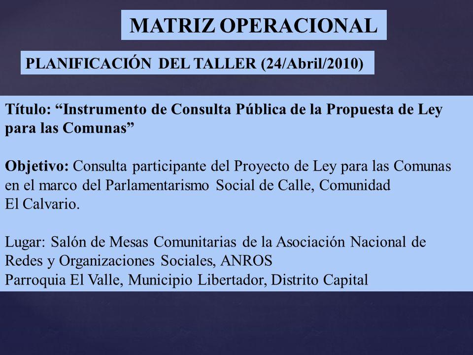 MATRIZ OPERACIONAL PLANIFICACIÓN DEL TALLER (24/Abril/2010) Título: Instrumento de Consulta Pública de la Propuesta de Ley para las Comunas Objetivo: