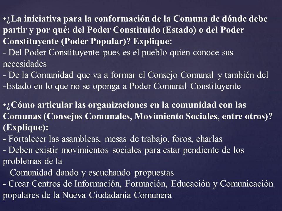 ¿La iniciativa para la conformación de la Comuna de dónde debe partir y por qué: del Poder Constituido (Estado) o del Poder Constituyente (Poder Popul