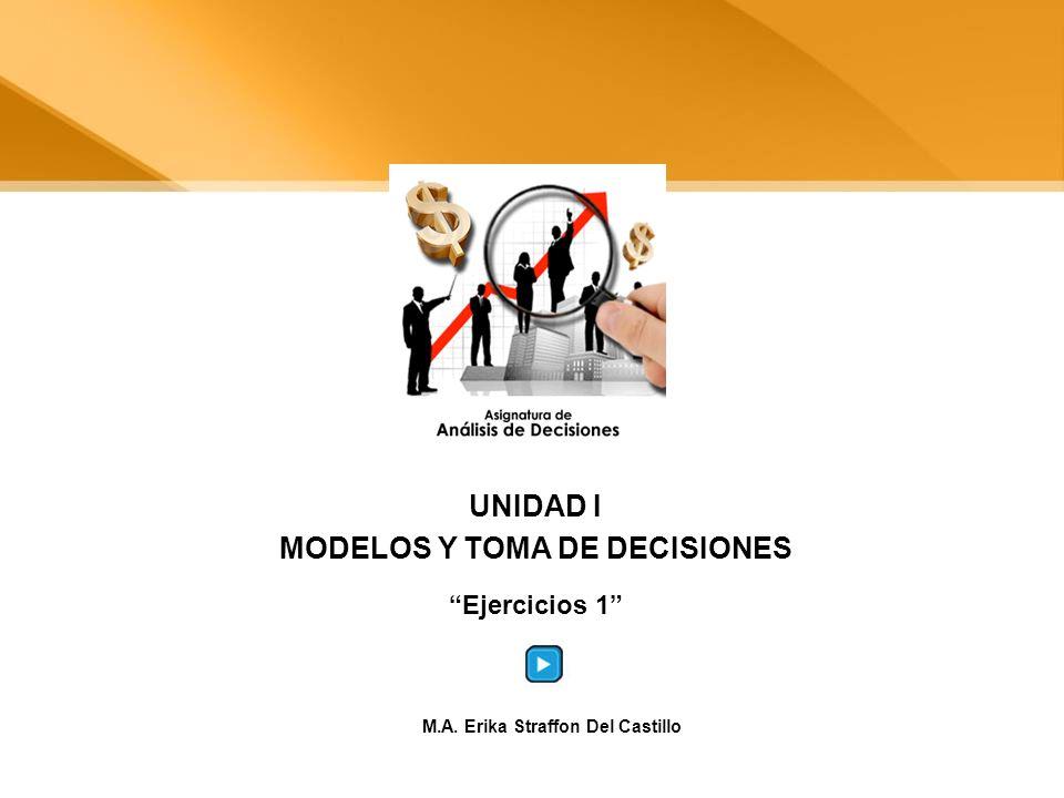 UNIDAD I MODELOS Y TOMA DE DECISIONES Ejercicios 1 M.A. Erika Straffon Del Castillo