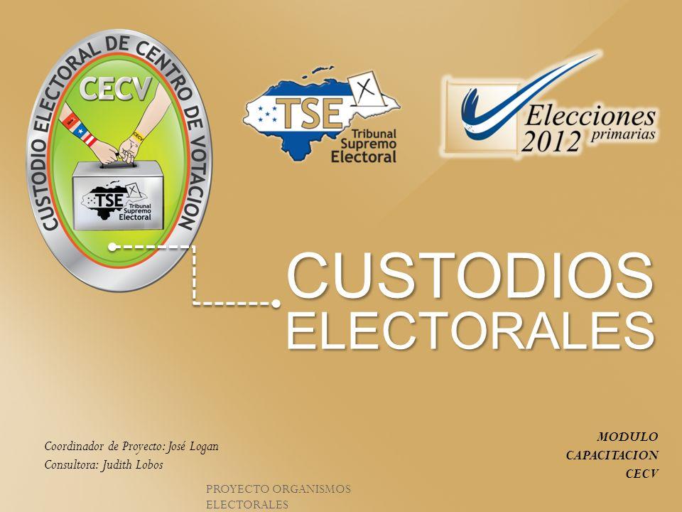 CUSTODIOSELECTORALES MODULO CAPACITACION CECV Coordinador de Proyecto: José Logan Consultora: Judith Lobos PROYECTO ORGANISMOS ELECTORALES