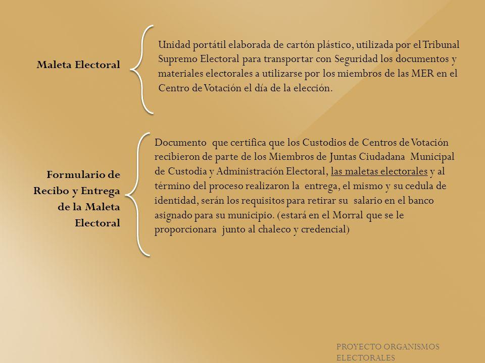 PROYECTO ORGANISMOS ELECTORALES Unidad portátil elaborada de cartón plástico, utilizada por el Tribunal Supremo Electoral para transportar con Segurid