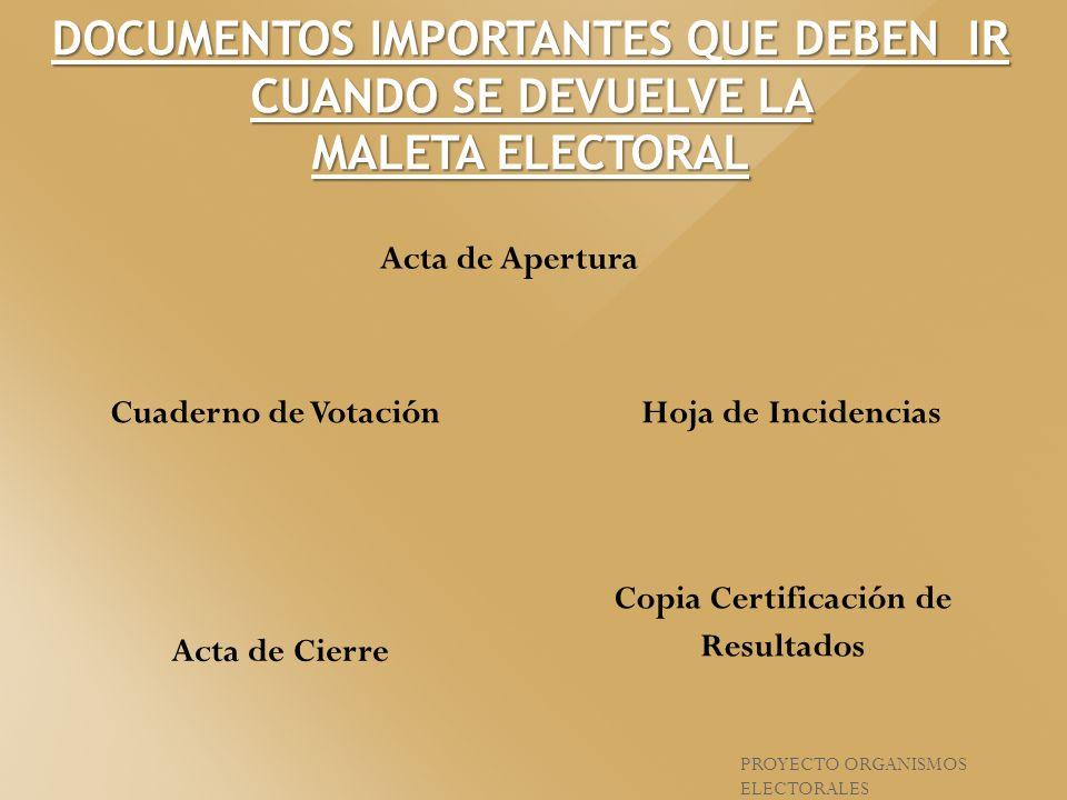 PROYECTO ORGANISMOS ELECTORALES DOCUMENTOS IMPORTANTES QUE DEBEN IR CUANDO SE DEVUELVE LA MALETA ELECTORAL Cuaderno de VotaciónHoja de Incidencias Act