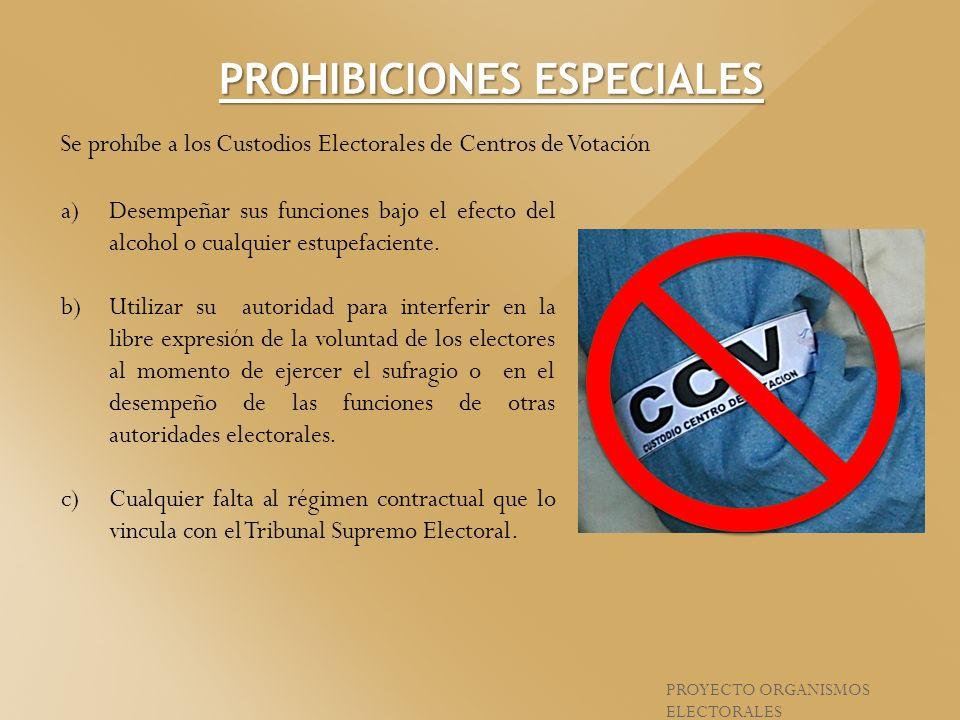 Se prohíbe a los Custodios Electorales de Centros de Votación a)Desempeñar sus funciones bajo el efecto del alcohol o cualquier estupefaciente. b)Util