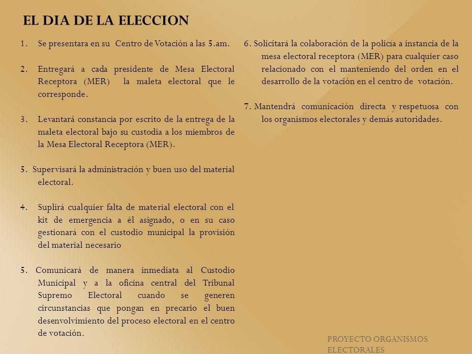 1.Se presentara en su Centro de Votación a las 5.am. 2.Entregará a cada presidente de Mesa Electoral Receptora (MER) la maleta electoral que le corres