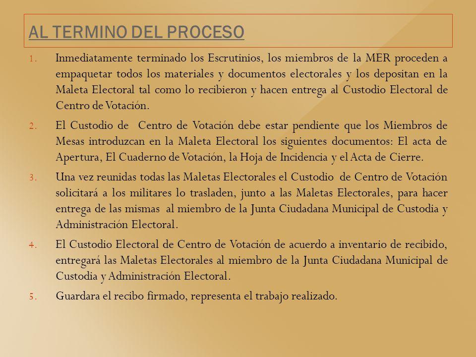 AL TERMINO DEL PROCESO PROYECTO ORGANISMOS ELECTORALES 1. Inmediatamente terminado los Escrutinios, los miembros de la MER proceden a empaquetar todos