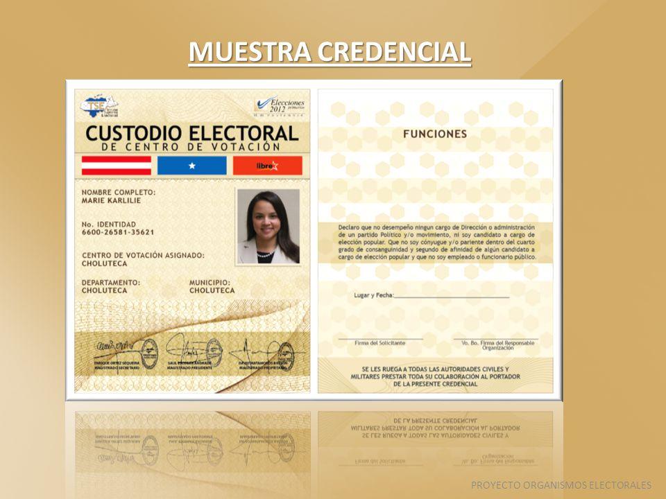 MUESTRA CREDENCIAL PROYECTO ORGANISMOS ELECTORALES