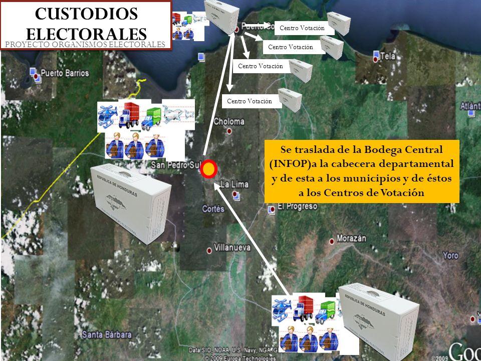 Centro Votación Se traslada de la Bodega Central (INFOP)a la cabecera departamental y de esta a los municipios y de éstos a los Centros de Votación CU