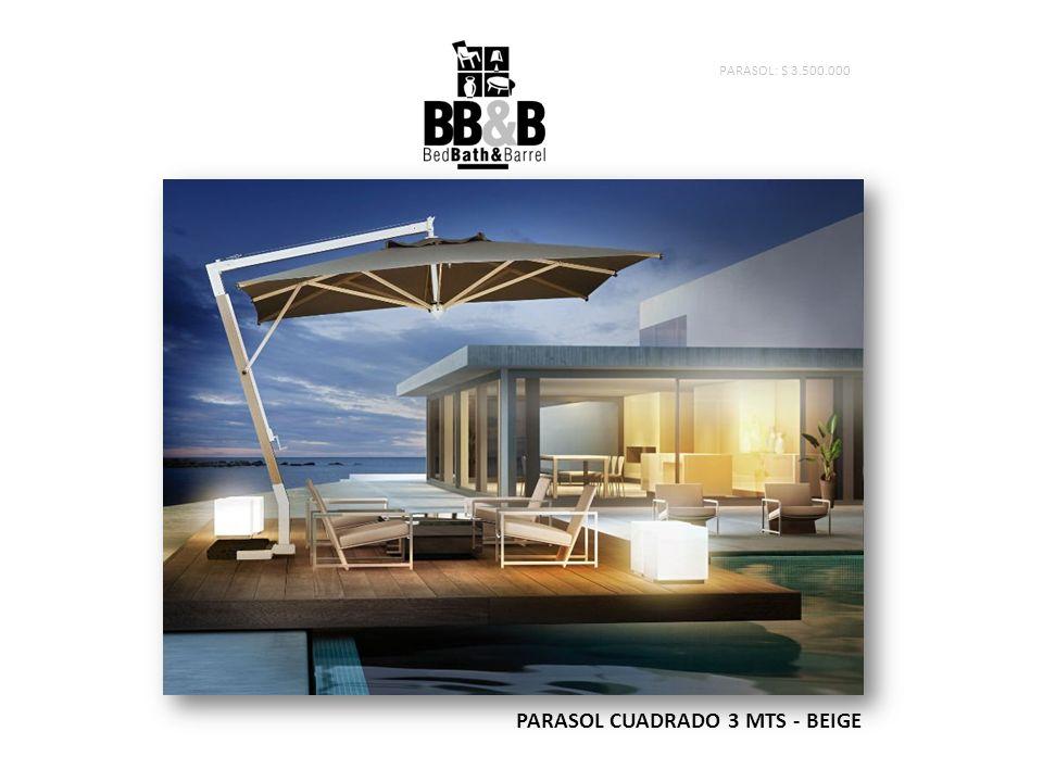 PARASOL CUADRADO 3 MTS - BEIGE PARASOL: $ 3.500.000