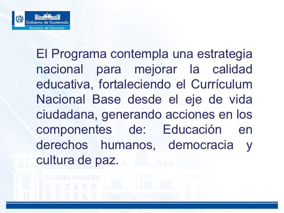 El Programa contempla una estrategia nacional para mejorar la calidad educativa, fortaleciendo el Currículum Nacional Base desde el eje de vida ciudad