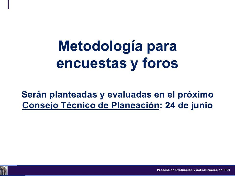 Metodología para encuestas y foros Serán planteadas y evaluadas en el próximo Consejo Técnico de Planeación: 24 de junio