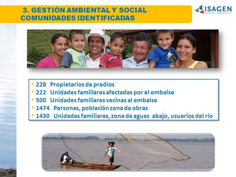 Comunidades identificadas 228 Propietarios de predios 222 Unidades familiares afectadas por el embalse 500 Unidades familiares vecinas al embalse 1474