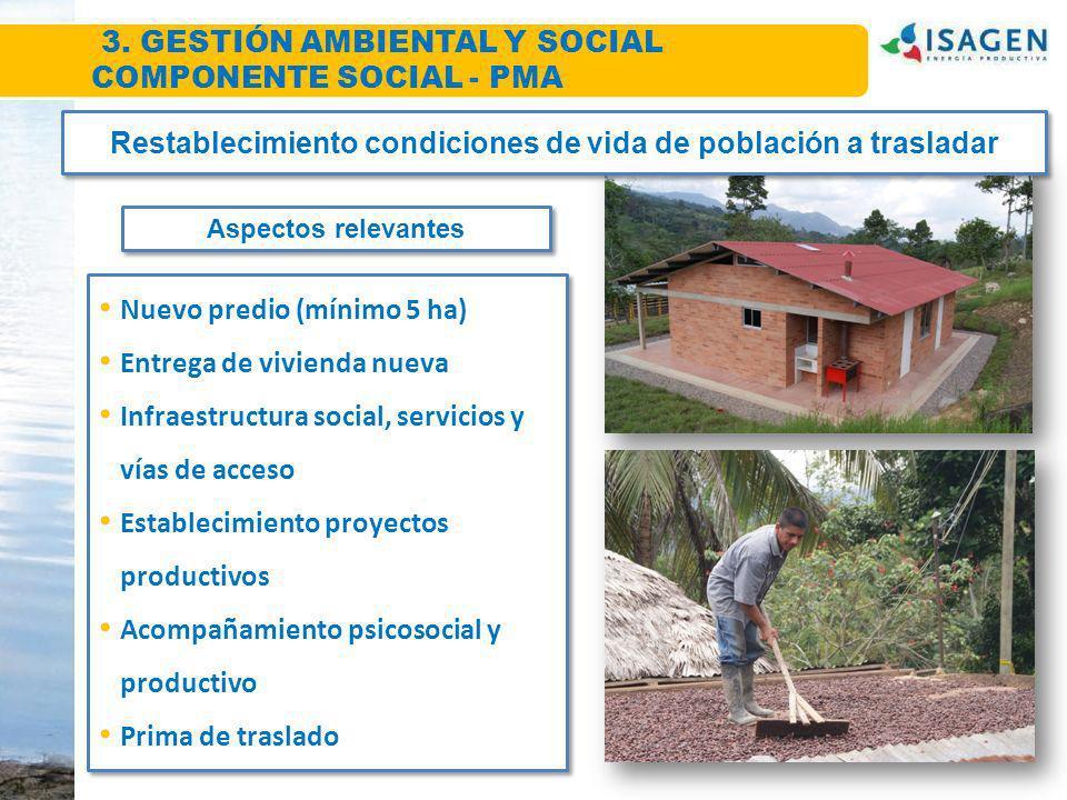 Nuevo predio (mínimo 5 ha) Entrega de vivienda nueva Infraestructura social, servicios y vías de acceso Establecimiento proyectos productivos Acompaña