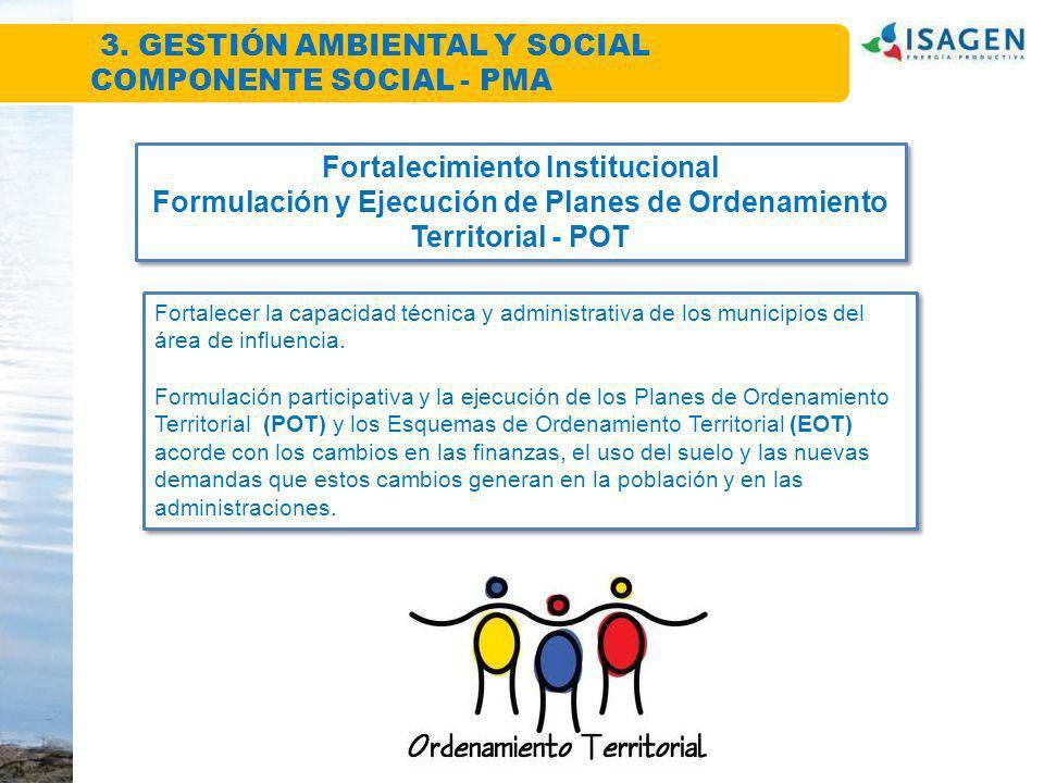 Fortalecimiento Institucional Formulación y Ejecución de Planes de Ordenamiento Territorial - POT Fortalecimiento Institucional Formulación y Ejecució