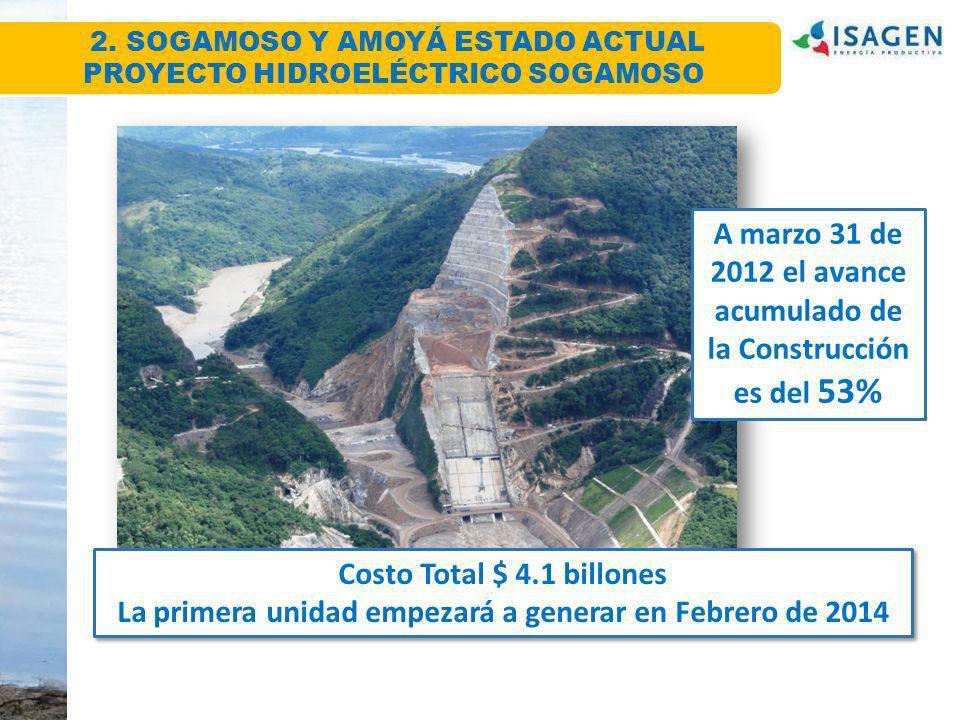Costo Total $ 4.1 billones La primera unidad empezará a generar en Febrero de 2014 Costo Total $ 4.1 billones La primera unidad empezará a generar en