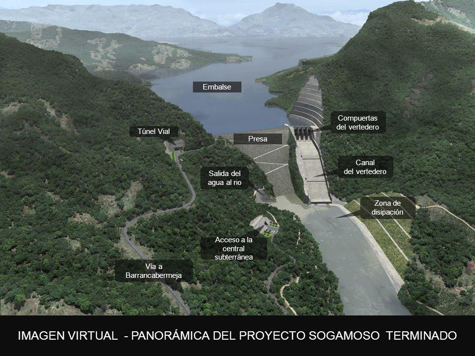 5. Plan de expansión IMAGEN VIRTUAL - PANORÁMICA DEL PROYECTO SOGAMOSO TERMINADO Embalse Presa Túnel Vial Vía a Barrancabermeja Acceso a la central su