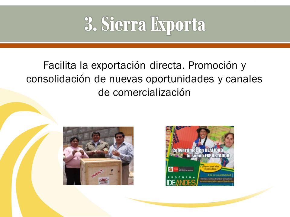 Facilita la exportación directa. Promoción y consolidación de nuevas oportunidades y canales de comercialización