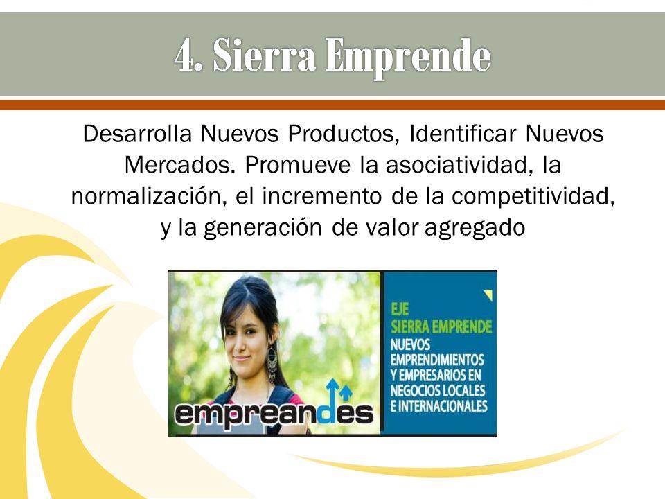 Desarrolla Nuevos Productos, Identificar Nuevos Mercados. Promueve la asociatividad, la normalización, el incremento de la competitividad, y la genera