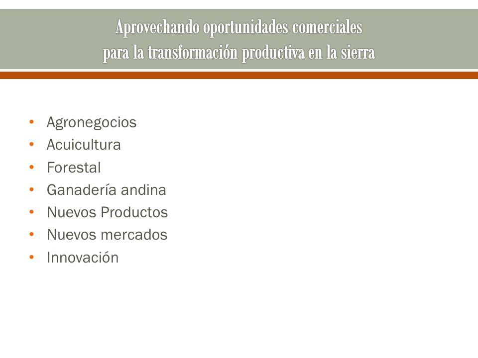 Agronegocios Acuicultura Forestal Ganadería andina Nuevos Productos Nuevos mercados Innovación