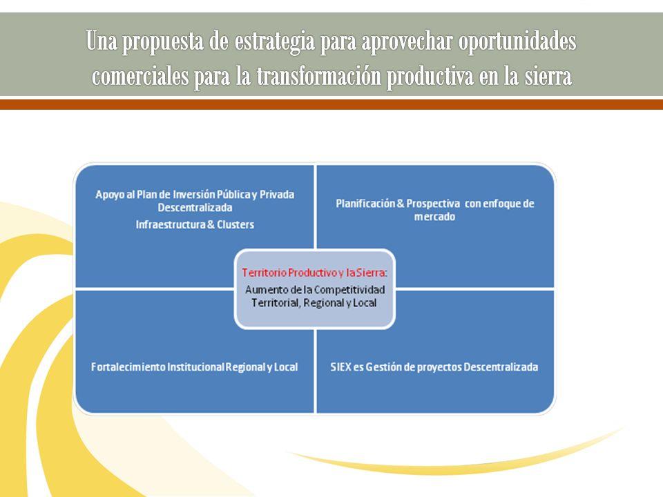 NUEVA VISIÓN Sierra Exportadora es la instancia líder y articuladora de los programas de fomento productivo dirigido a exportación, impulsando consensos en alianza con decisores locales a favor de la consolidación de oferta exportable con una mirada integral de la cadena de valor en la zona andina.