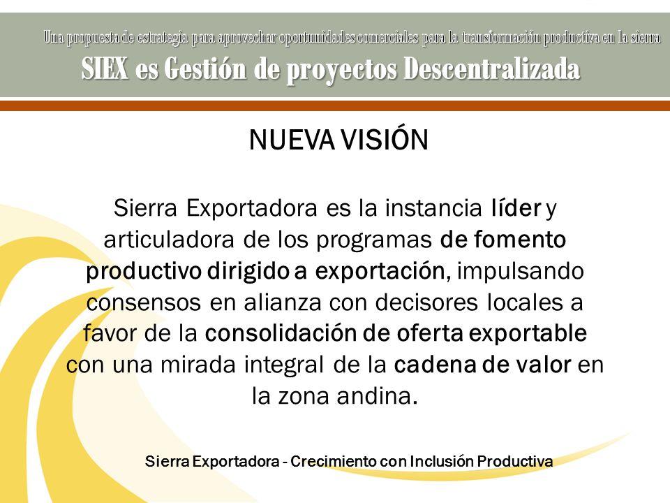 NUEVA VISIÓN Sierra Exportadora es la instancia líder y articuladora de los programas de fomento productivo dirigido a exportación, impulsando consens