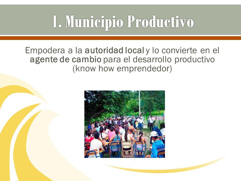 Empodera a la autoridad local y lo convierte en el agente de cambio para el desarrollo productivo (know how emprendedor)
